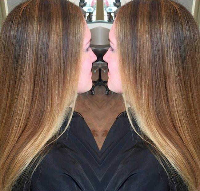 Колорирование на темные волосы средней длины 29 фото