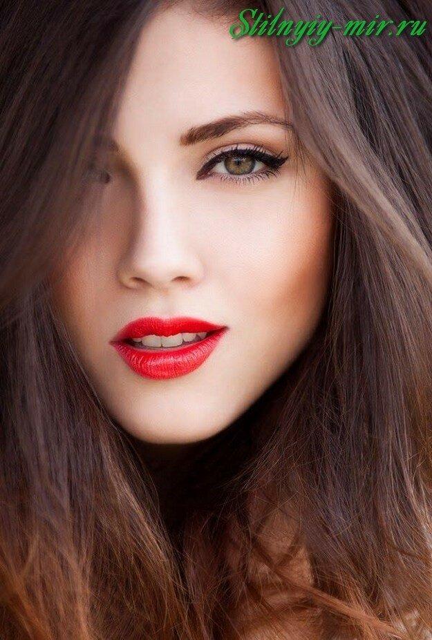 Макияж с красной помадой фото